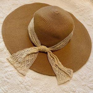 Crochet Ribbon Floppy Sun Hat in Natural Small